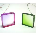 collier carré plexiglas vert rose anais preaudat