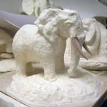 Sculpture Éléphant, moulage en plâtre